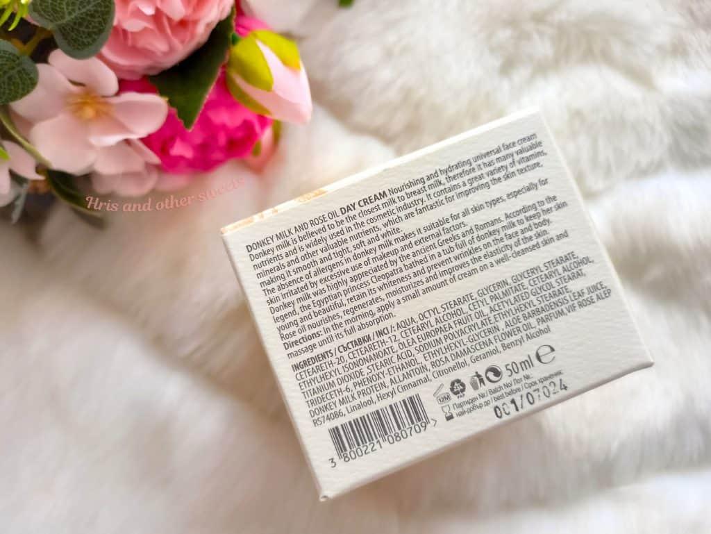 Фионна Козметикс дневен крем с магарешко мляко и розово масло 5