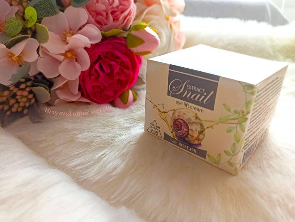 Фионна Козметикс околоочен крем с екстракт от охлюв и розово масло 3