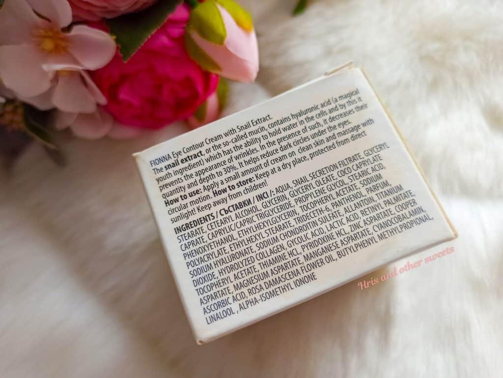 Фионна Козметикс околоочен крем с екстракт от охлюв и розово масло 5