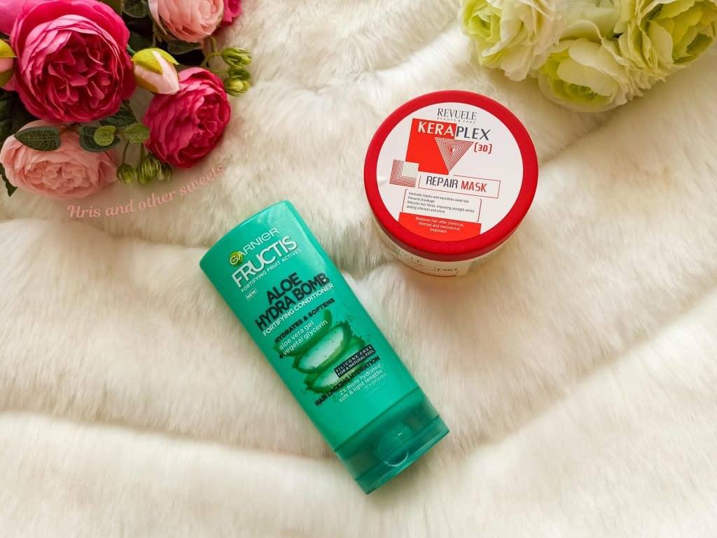 Garnier Fructis Aloe Hydra Bomb conditioner and Revuele Keraplex hair mask